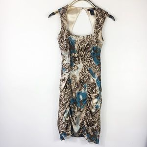 Arden B Silk Animal Watercolor Bodycon Cocktail M